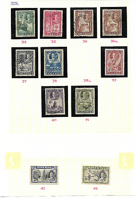 NIGERIA - 1936 Definitive selection - between SG 34 & 43 - mint & used