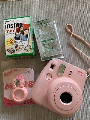 FUJIFILM Instax Mini 8 Pink Instant Film Camera USED BUT EXCELLENT CONDITION