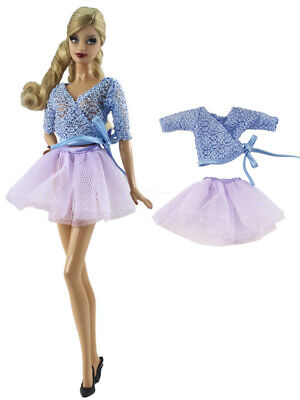 2PCS Set Blue Sweater + Red Purple Skirt For 30MM Barbie Doll