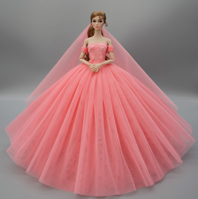 Girl Love Pink Fashion Party Dress/Wedding Clothes/Gown+Veil For Barbie Doll
