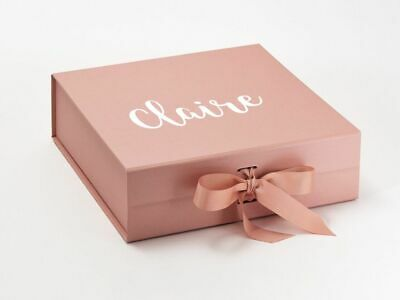 Large ROSE GOLD Gift Box Personalised Bridesmaid Bride Flower Girl Baby Bridal