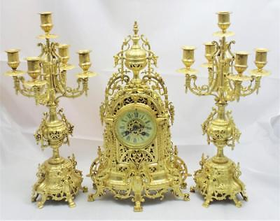 Antique Mantle Clock 19th c French Gilt Pierced Bronze Striking Garniture Set