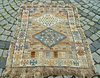 Fabulous Antique Rare Awesome Design Caucasian Collector's Piece Fragment Rug