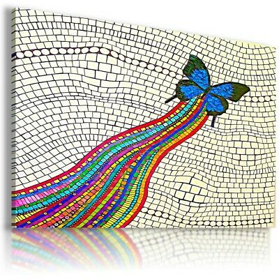 ABSTRACT BUTTERFLY MOSAIC STAINED GLASS Canvas Wall Art Picture AB579 NO FRAME .