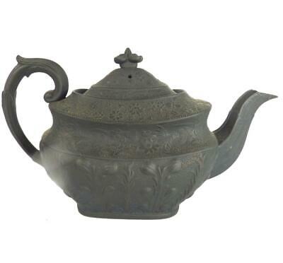 C1820 Antique English Black Basalt Teapot Acanthus Leaf & Floral Bands