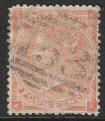 1862/64 QUEEN VICTORIA 4d PALE RED SG82 USED
