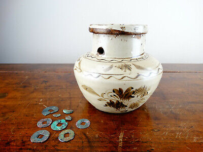 Antique Chinese Cizhou Pottery Money Box Jar with Ancient Coins