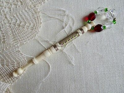 Vintage Turned Bovine Bone Lace Maker's Bobbin W/Tiny Beads By David Springett