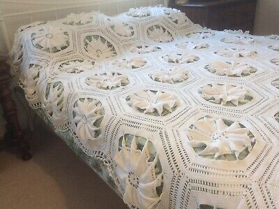 Vintage French Large White Hand Crocheted Cotton Bedspread