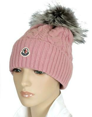 bb0bc4fa9 NEW MONCLER LADIES Rose Cable-Knit Cashmere Blend Fox Pom-Pom Beanie Hat
