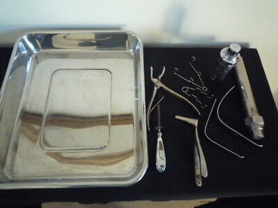 Vintage Down,thackray,reiner Ent Surgical Instruments Lot & Tawlite Tray