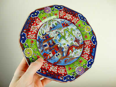 Antique Chinese Porcelain Plate Blue & White Clobbered Famille Rose 18th Century