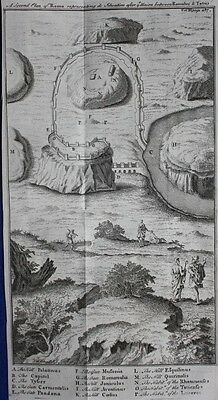 Original antique map / plan ANCIENT ROME AFTER TRUCE WITH TATIUS, Blundell, 1747