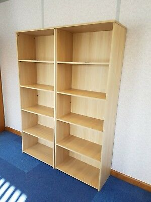 Pair of sturdy heavy duty office bookcases