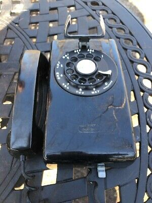 Vintage Black Bell System Rotary Wall Phone