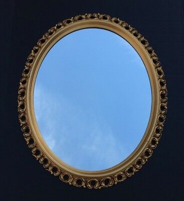 "Vintage Mid Century Turner Ornate Oval Gold Decorative Wall Mirror 24"" X 20"""
