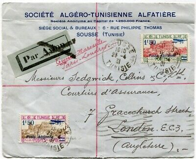 TUNISIA 1931 Airmail Sousse to London  1.50fr on1.80f & on 2.55f  Front only