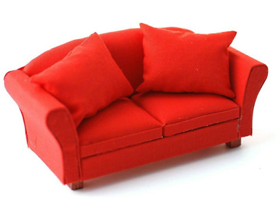 1/12th Scale Streets Ahead Dolls House red Sofa Settee Couch DF1156 2 Seater
