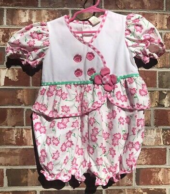 Vintage Toddler Girl Pink and White Floral Romper Spring Summer 3/4