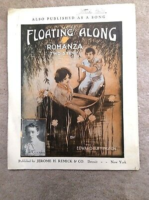 Antique Piano Sheet Music - 1906 Large Format Piece - Floating Along