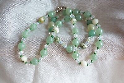 Vintage Jewellery Art Deco  Pale Green Glass & Crystal Beaded Necklace - Lovely