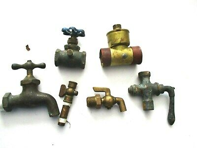 Vintage Brass Faucet Waters Gas Fluid Spigot Valves Gate Valve Lot of 6