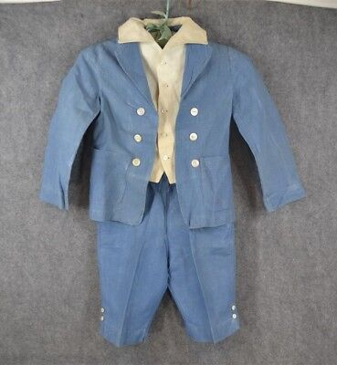antique suit boy child Edwardian Lord Fauntleroy blue linen  1890 1910 original