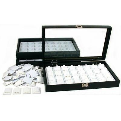 100 White 14K Gold Earring Cards Glass Lid Display Case