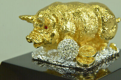 Metal Pig Sculpture Animal Statue Happy 24k Gold Plated Hot Cast Hand Made Deal