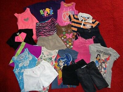 Huge Lot Of Summer Clothes Shorts Skirts Tops Old Navy Dc Outfits Girls Size 7/8
