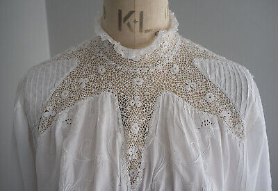 Antique Edwardian embroidered linen and crochet lace dress bodice/ blouse