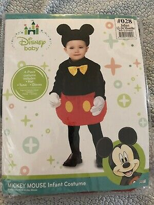 72939992142 Disney Baby Mickey Mouse Kids Costume Infant 12-24 mo Yellow Tie Mickey Ear  Hat