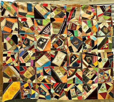 Victorian Crazy Quilt Top Silk Velvet Heavily Embroidered Antique Extra Squares
