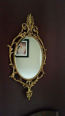 Large Antique French Ornate Oval Gold Gilt Rococo Baroque Style Bevelled Mirror