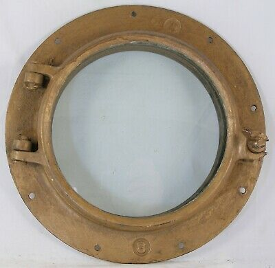 Antique galvanized steel  porthole, Wilcox Crittenden WC #8 Painted Bronze