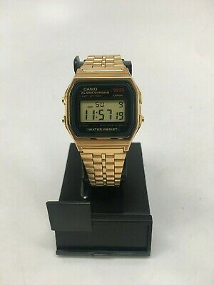 PREOWNED Casio A159WGEA-1 Mens Gold Tone Stainless Steel Digital Watch
