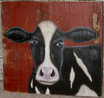 *~*primitive*~* Hp Folk Art Prim Black And White Cow *~* Old Reclaimed Wood
