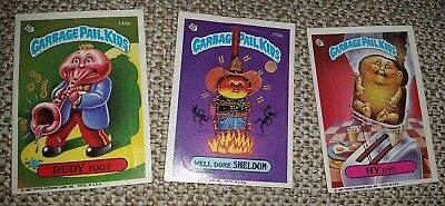 3 Vintage Garbage Pail Kids Trading Cards Rudy Toot, Hy Rye, Well Done Sheldon