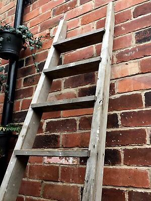 VINTAGE WOODEN LADDER ~ Old Shabby Chic Antique Rustic Leaning Shop Step Ladders