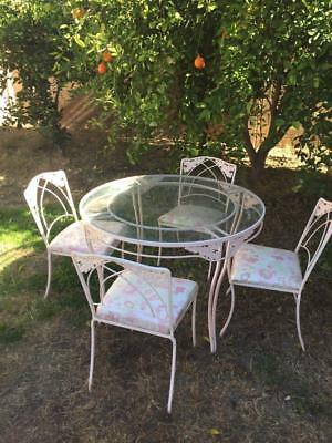 VINTAGE WROUGHT IRON PATIO SET glass top table and 4 chairs