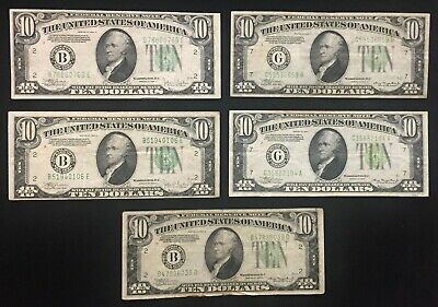 Lot of Five (5) Various Series 1934 $10 Federal Reserve Notes $50 FACE VALUE!