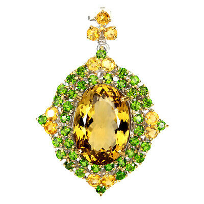 Handmade 33.89ct 24x16mm Aaa Citrine Diopside 25 Sterling Silver Pendant Brooch