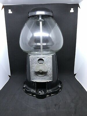 Black and Glass/Metal 14.5-inches Vintage Gumball Machine