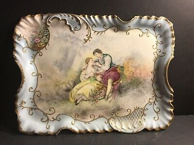 Antique Limoges Porcelain Plate/ Tray. Hand Painted Romantic Scence. France 1895