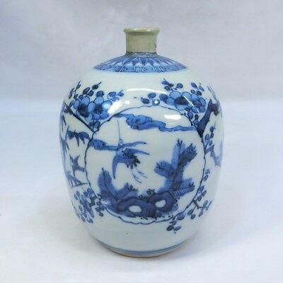 D022: Japanese bottle of real old KO-IMARI blue-and-white porcelain of good tone