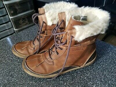another chance classic shoes good looking MERRELL TREMBLANT MID Polar Waterproof Brown Nubuck Leather Boots ...