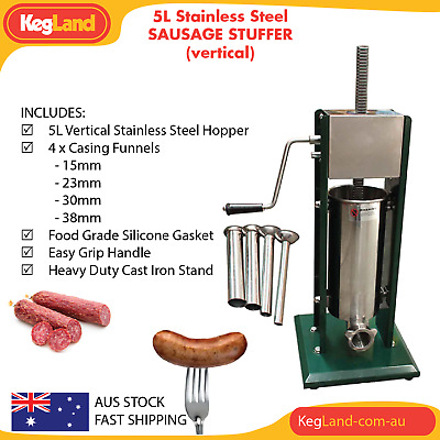 5L Vertical Heavy Duty Stainless Steel Commercial Sausage Stuffer 11LB Meat Pres