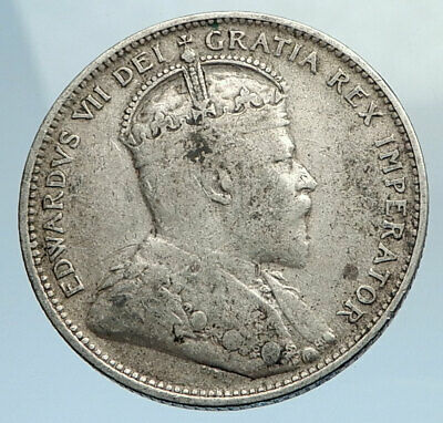 1907 CANADA 25 CENTS UK King Edward VII w Crown Genuine Silver 25Cnt Coin i74372