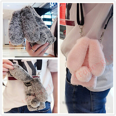 Winter Cute Plush Bunny Crossbody Strap Soft Rabbit Fur Phone Case Back Cover