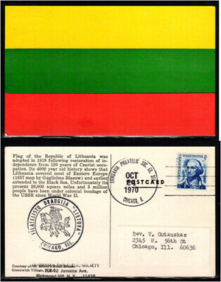 Lithuanian-American; FLAG OF THE REPUBLIC OF LITHUANIA POSTCARD; LITHUANIAN PHIL
